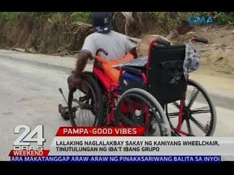 Lalaking naglalakbay sakay ng kaniyang wheelchair, tinutulungan ng iba't ibang grupo