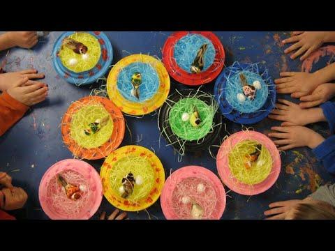 Make a bird nest with paper plates