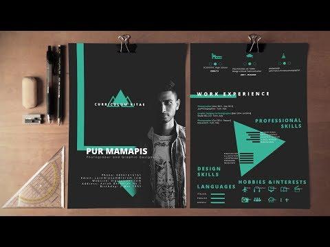 Self Promotion Resume / CV Dark Theme Photoshop  - Free Download