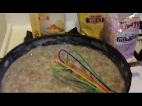 Gluten free biscuits and sausage gravy made with potato starch