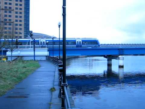 Northern Ireland Translink trains cross the Lagan, Belfast