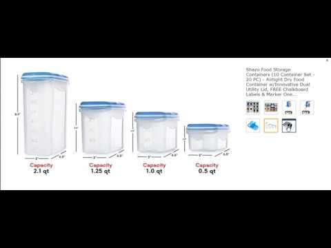 Shazo Food Storage Containers (10 Container Set - 20 PC) - Airtight Dry Food Containe