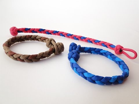 How to make a Basic 3 Strand Flat Braid/ Diamond Knot and Loop (without buckle) Paracord Bracelet