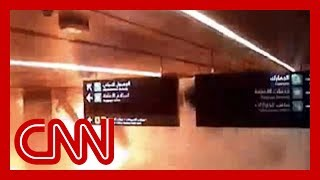 Airport camera shows moment missile strikes