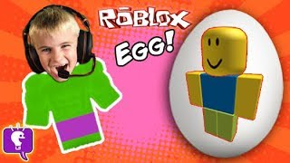Biggest ROBLOX Egg! Toy Surprises + Video Game Play. Frog Monster Attack SKIT HobbyKidsTV