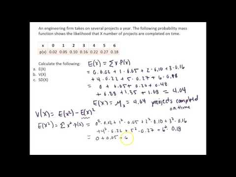 Calculate the Mean and Variance for Discrete Random Variable - Engineering Project Example