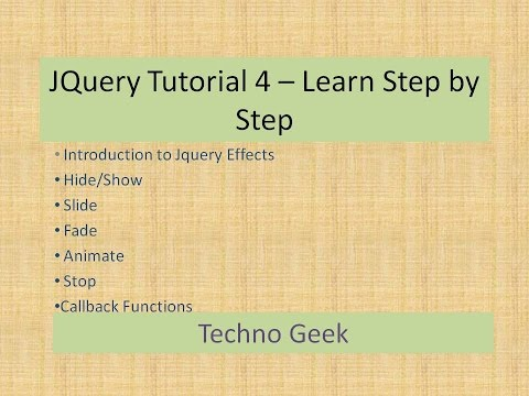 JQuery Tutorial 4 Learn Step by Step | JQuery Effects