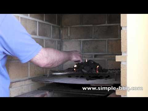 How to light charcoal on a built in brick barbecue