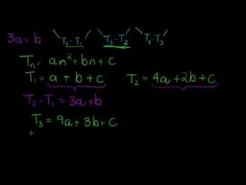 Quadratic Sequence deriving the formulas and alternative formulas