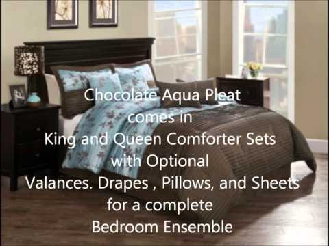 Chocolate Aqua Pleat Brown and Blue Floral Bedding by Monroe