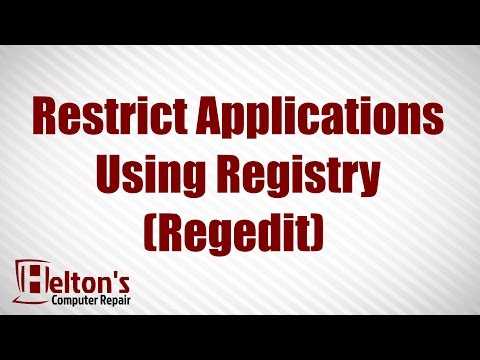 How to Restrict Applications Using Registry (Regedit)