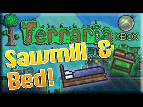Terraria Xbox 360: How to Craft a Sawmill and Bed! (Set Spawn)