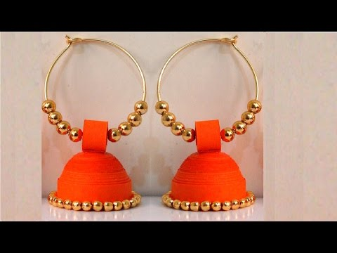 How to make Paper Earrings Jhumka | Paper Quilling Tutorial