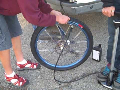 How to install a tube tire on a tubeless wheel with sealant and a floor pump