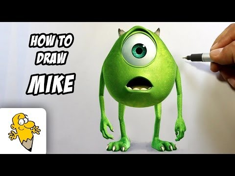 How to draw Mike Wazowski in 3D [Monster University] drawing tutorial