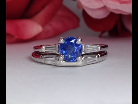 1950's Vintage Blue Sapphire Engagement Ring with Tapered Baguette Diamonds