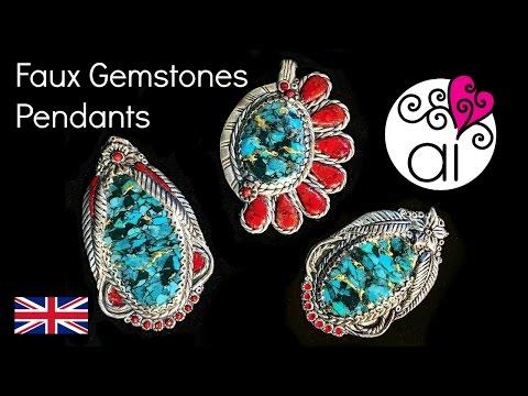Gemstone Pendants with Faux Silver Metalsmiths Work Frame | Polymer Clay Tutorial