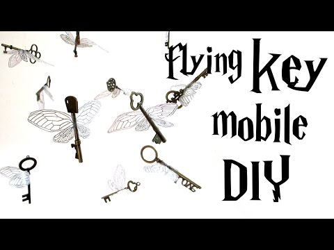 DIY flying key mobile - Harry Potter tutorial - from the FIRST movie