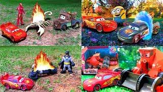 Lightning McQueen & Tow Mater Disney Pixar Cars Toy Story Iron Man Imaginext Batman Minions Movie!