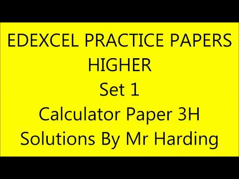 Edexcel GCSE 9-1 Math - Practice Papers Set 1 - Higher Calculator (3H) Solutions By Mr Harding