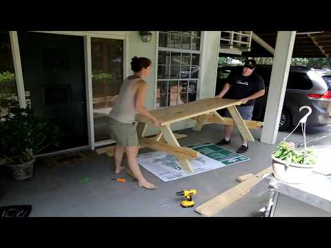 Lowes Picnic Table/Bench Build Video (Time Lapse)