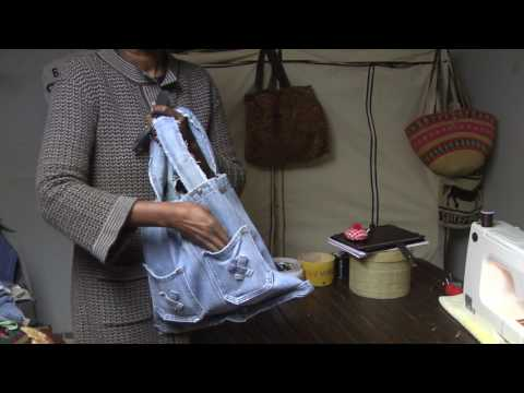 DIY How to make a Blue Jean Denim tote, coin purse and crossbody pouch
