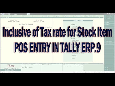 Point of Sale (POS) in Tally.ERP 9 with VAT in UAE ( Include VAT rate method )
