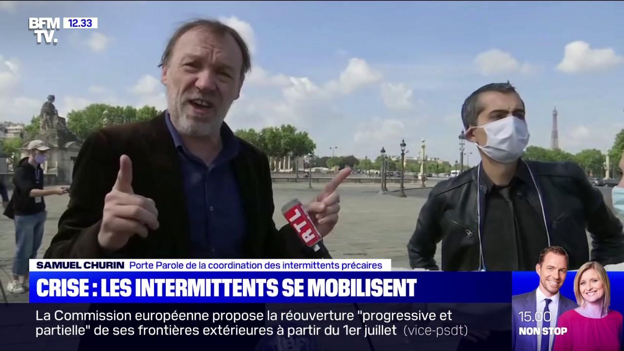 Action des intermittents de l'emploi place de la Concorde - ITW Samuel Churin, BFM TV - 10 juin 2020
