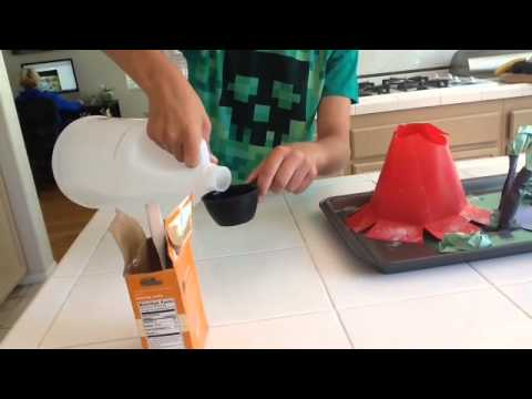Vinegar + baking soda = fizz & boom!!!!!!!!!!!!!!!!!!       Volcano model