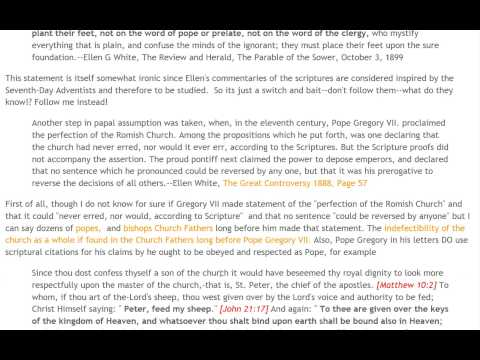 Ellen G White: On the Pope, Sabbath, Bad History:Part 2