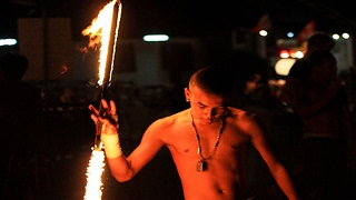 Circus show with Fire stick by a Stuntman, Best Fire show  Fireworks one of the best Circus Videos #