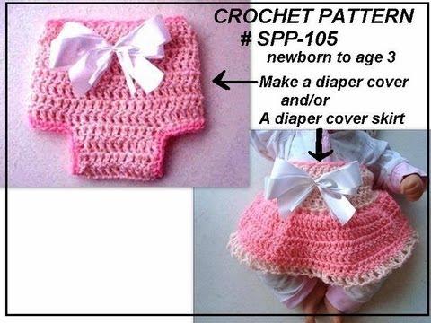 How to crochet a DIAPER COVER SKIRT, free crochet pattern, newborn to 3 months
