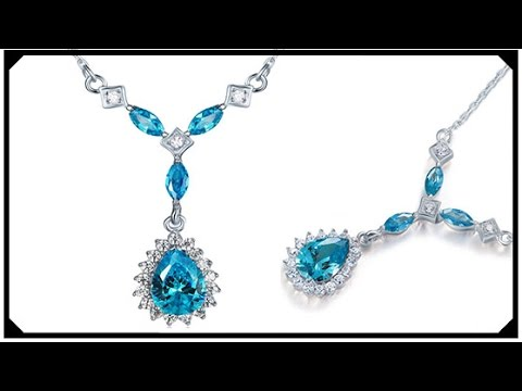 Beautiful Sapphire Necklace Pear Diamond Made in Lab Synthetic Silver 925 Cheap price