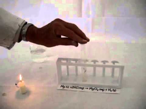 Magnesium reacts with hydrochloric acid