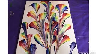 (264) Rainbow String Pull Acrylic Pour.