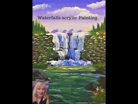 Acrylic Painting Tips, How to Paint a beautiful  Waterfall for beginners Live stream