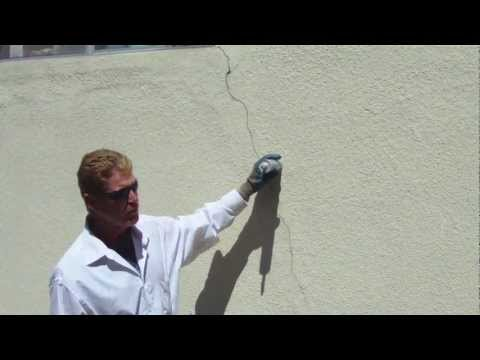 Fixing and blending in a crack on a stucco wall