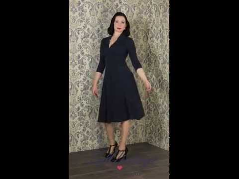 TopVintage - 50s Vedette Navy Swing dress