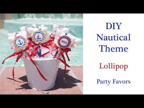 DIY Easy Nautical/Sailor Theme Party Favor- Party Sweet Lollipops
