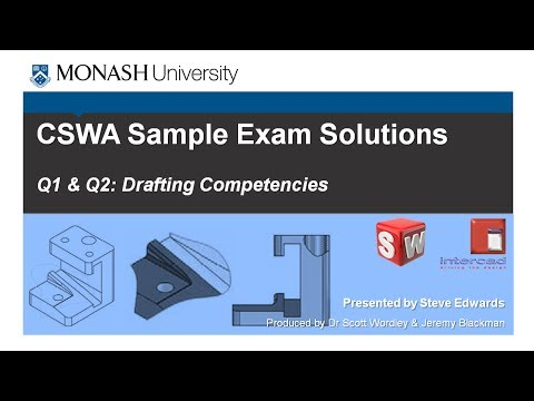 SolidWorks CSWA Practice Exam Solutions Part 2: Q1, 2 & 3 Drafting Competencies