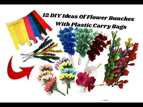 12 DIY Ideas With plastic carry bags | Making flower bunches | Best out of waste