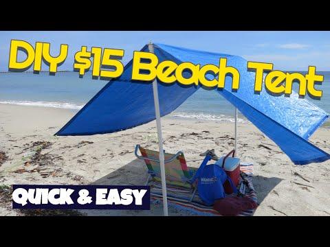 Make $15 Beach Shade tent Easy Quick DIY