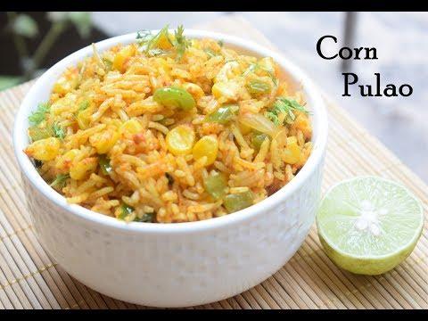 Corn pulao recipe   Sweet corn pulav  How to make sweet corn pulao recipe  Corn Capsicum Rice Recipe