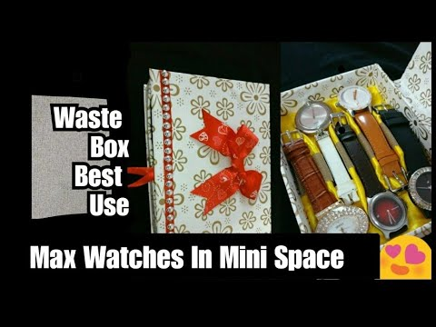 DIY Watch Organizer From Waste Box | How to make Watch Organizer | Best Out Of Waste