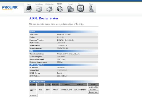 How to get ADSL / ISP password from Prolink modem