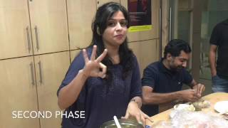 Girl is eating 86 Panipuri in Pani Puri competition in office
