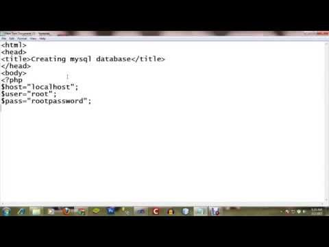 Creating MySQL database using php script