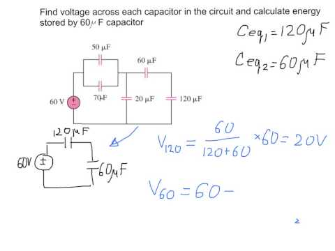 Finding voltage across capacitors in the electric circuit. Example with solution