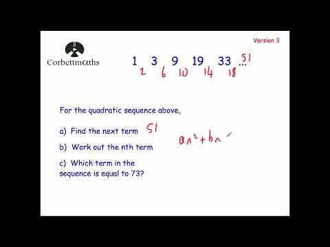 Quadratic Sequences Version 3 - Corbettmaths