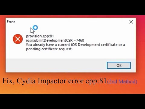 Fix : provision cpp:81, Cydia Impactor Error. (Method : 2)
